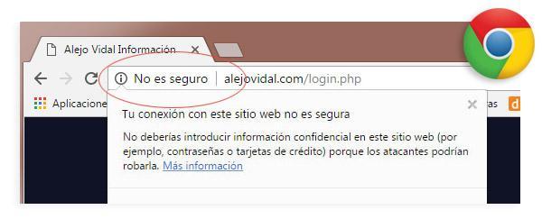 Sitio web no seguro imagen ejemplo