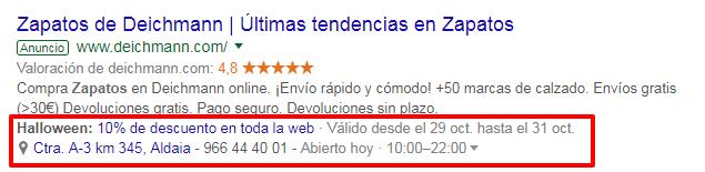 extensiones de anuncios google ads